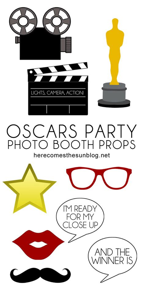 printable photo booth props oscar oscars party photo booth props here comes the sun