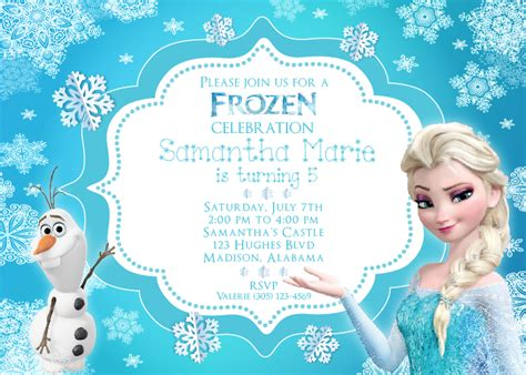 frozen birthday card template frozen invitation with elsa and olaf http www thewhiteeg