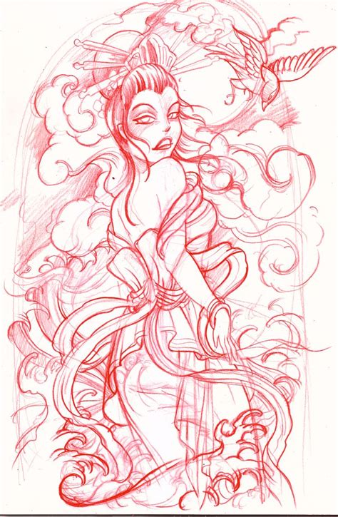 geisha tattoo stencil geisha sketch by mojoncio on deviantart