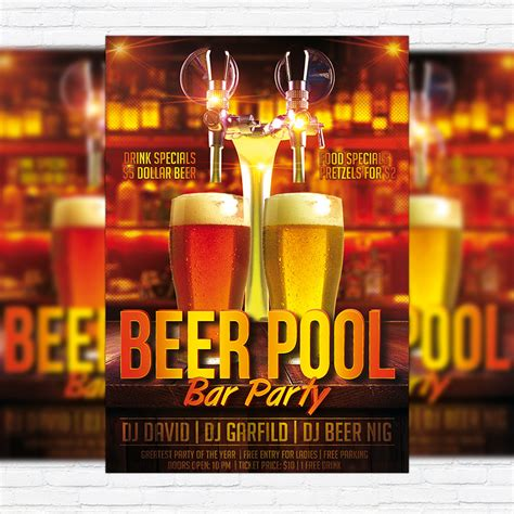 Beer Flyer Template pool premium flyer template cover