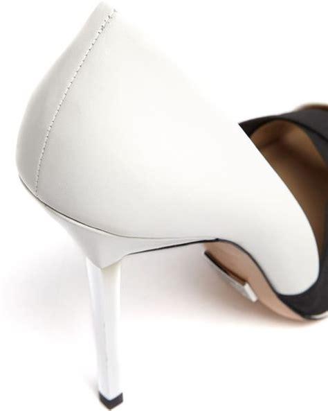 michael kors white metal toe cap stiletto court shoes