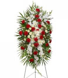 Graceful red amp white standing spray of funeral flowers flower shop