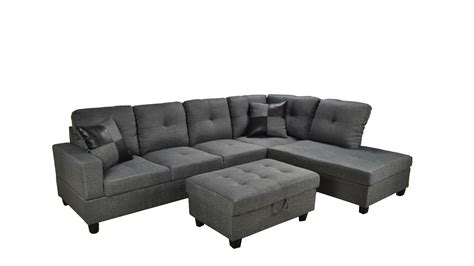 grey sectional with ottoman bevly grey fabric sectional sofa with storage ottoman