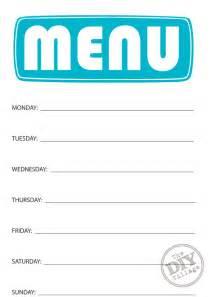 Weekly Menu Printable Free Printable Weekly Menu Planner The Diy