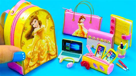 diy miniature belle school supplies backpack glitter