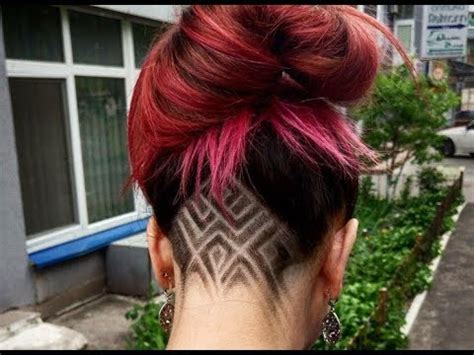 undercut hairstyles for girls geometric, colored and