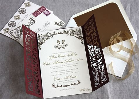 new year envelope married style laser cut invitations