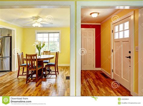 yellow house interiors house interior entrance hallway and dining room stock photo image 44229854