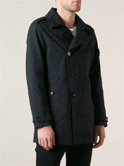 Island Trenchcoat island single breasted trench coat in blue for