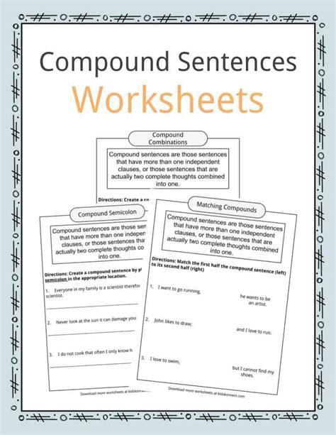 compound sentences worksheets exles definition for
