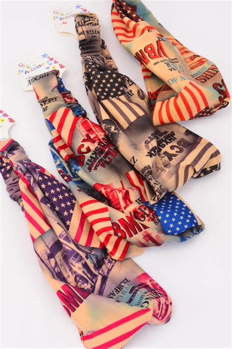 Flag Strech Import headband turban wide cotton stretchy fabric flag pattern dz stretch weith 7 quot wide 3 of each