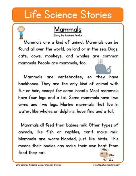 reading comprehension worksheet mammals et