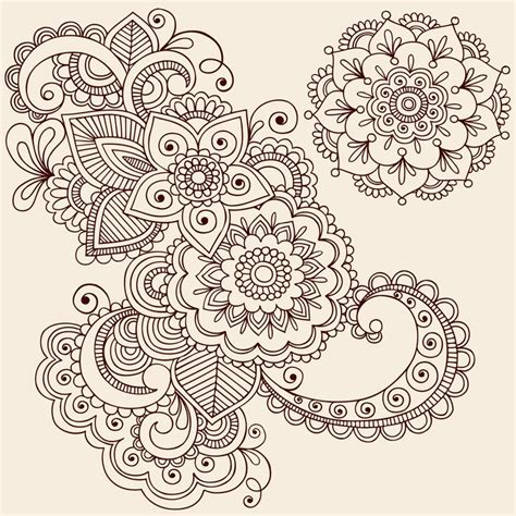 paisley doodle vector free fototapete henna abstrakte paisley flower doodles