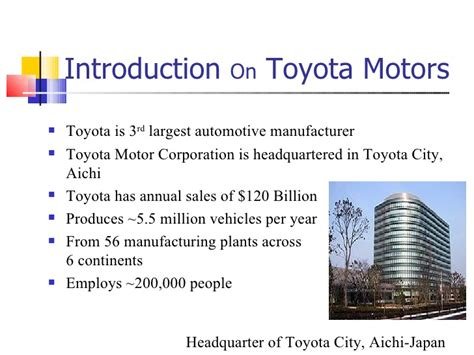 about toyota presentation on toyota motors 1