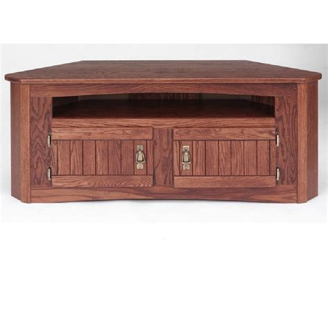 solid oak mission style corner tv stand w cabinet 49