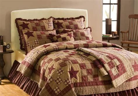 country bed sets 4 pc primitive country rustic star patch queen full quilt