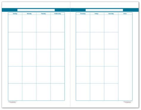 blank 2 page per month calendar half size green blue colourful blank monthly calendars make a great jumping off