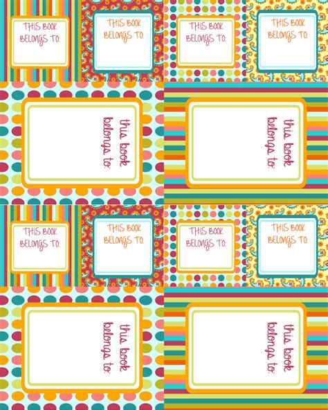 book labels template 6 best images of free printable book labels school book