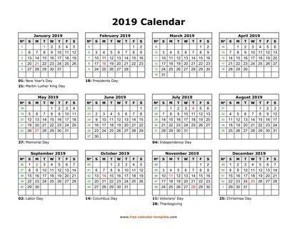 printable yearly calendar 2019   free calendar template.com