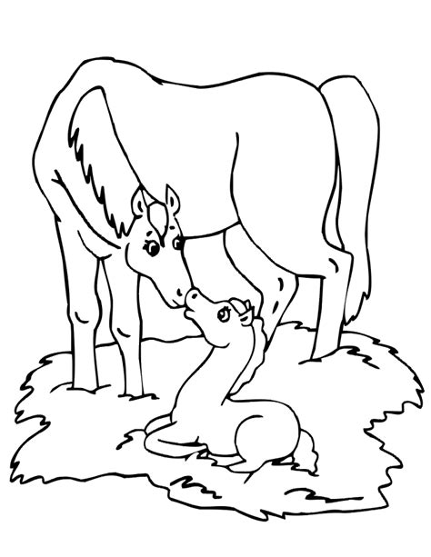 coloring pictures of baby horses foal coloring page mare beside her baby