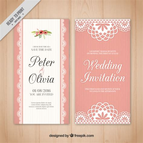 Wedding Card Vintage by Pink Wedding Card In Vintage Style Vector Free