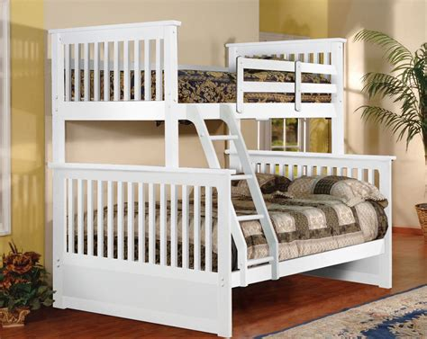 White Wood Bunk Beds White Finish Wood Size Convertible Bunk Bed New Ebay