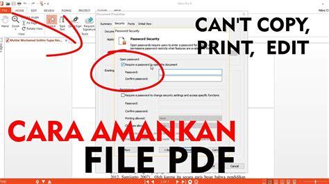 mengunci file   tidak bisa diedit diprint