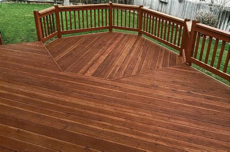 rustic color stained deck  deck  fully stripped