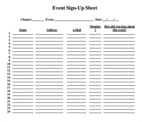 event sign in sheet template sle sign up sheet 10 exle format