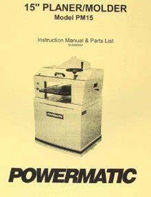 Powermatic 180 18 Inch Planer Operator Parts Manual