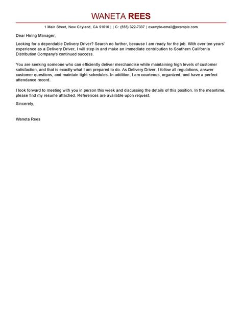 cover letter for driver delivery delivery driver cover letter exles transportation