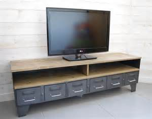 meuble tv bois et metal retro artzein