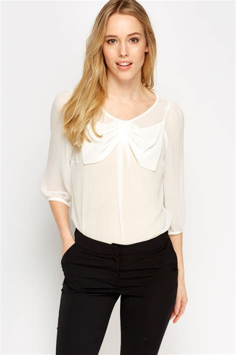 Sheer Black Blouse With Bow by Bow Front Sheer Blouse Just 163 5