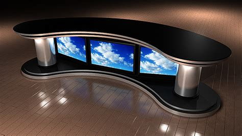 tv studio desk tv set designs wide angle news desk
