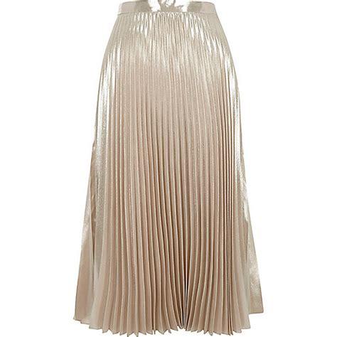 light pink pleated skirt light pink metallic shine midi skirt midi skirts