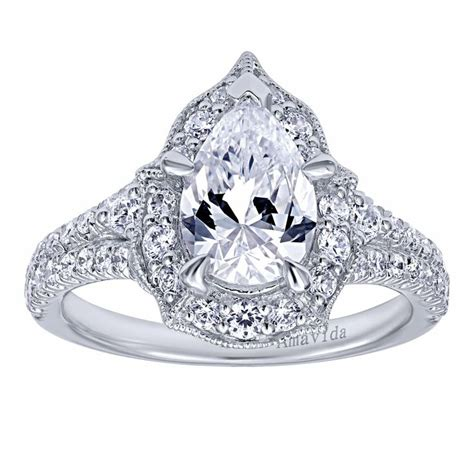 pear halo ring engagement rings