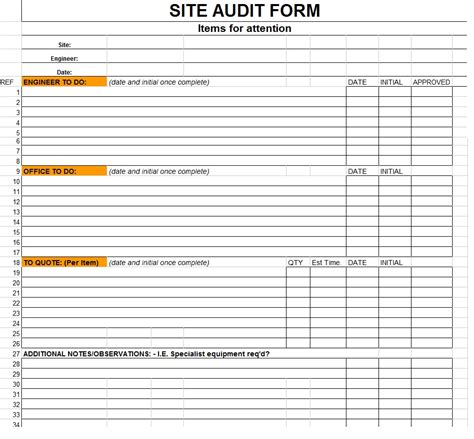 audit forms templates site audit form template sle
