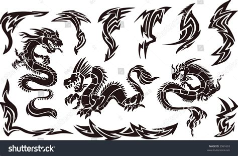 iconic tattoo designs vector illustration iconic dragons tribal stock