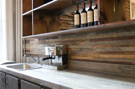 back splash made from reclaimed wood the contrast