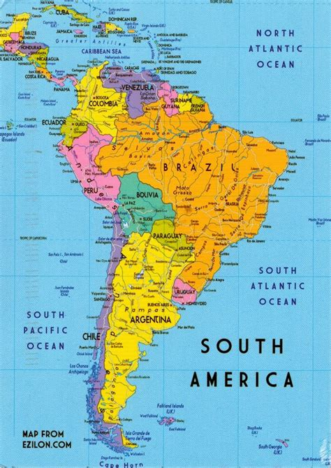 The Of S by Map Cards 0452 Continent South America