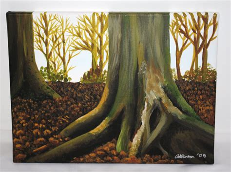 acrylic painting of trees woodland original acrylic painting trees and leaves 30x40cm