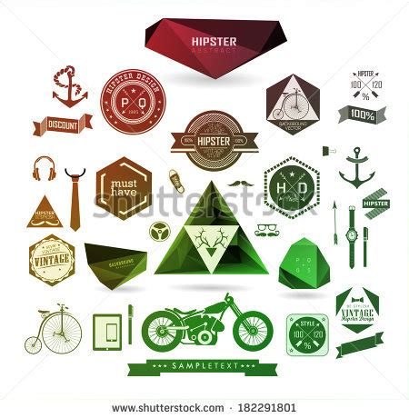 hipster style elements icons and labels stock vector hipster style elements icons labels can stock vector