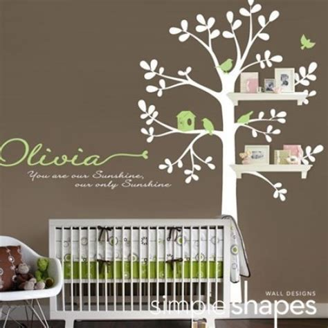 Tree Wall Decals For Nursery Baby Nursery Wall Decal Shelving Tree Simpleshapes On Artfire