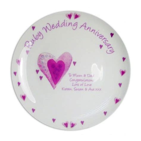 ruby wedding anniversary gifts for personalised ruby wedding anniversary plate find me a gift