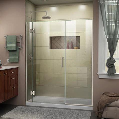 48 Shower Doors Shop Dreamline Unidoor X 48 In To 48 5 In W Frameless Brushed Nickel Hinged Shower Door At Lowes