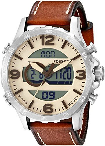 Fossil Original Jr 1436 Leather Stainless Steel fossil s jr1506 nate analog digital stainless steel with brown leather band 101 best