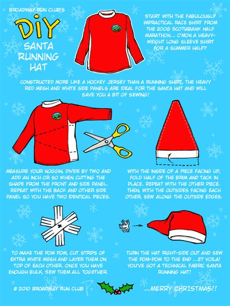 How To Make A Santa Hat Out Of Paper - diy santa running hat broadway run club