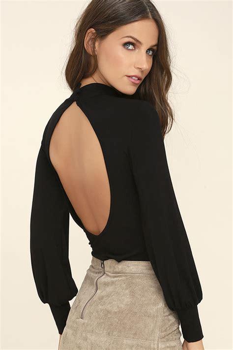 Sleeve Backless Top chic black top sleeve top mock neck top