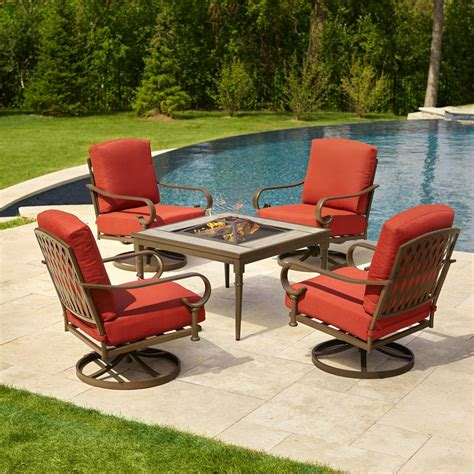 Firepit Patio Set Hton Bay Oak Cliff 5 Metal Patio Pit Conversation Set With Chili Cushions 176 411