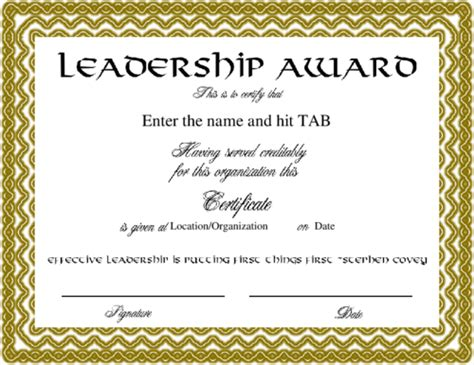 certificate of leadership template leadership certificate gallery